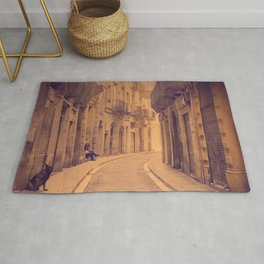 The dog in the narrow street of Barcelona Rug