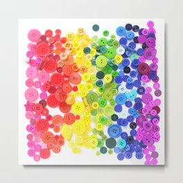 Rainbow Buttons Metal Print