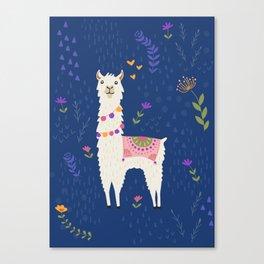 Llama on Blue Canvas Print