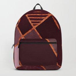 DARK RUBY PURPLE COPPER MARBLE BLUSH GEOMETRIC Backpack
