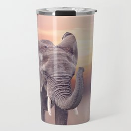 African Elephant walking in the grassland at sunset Travel Mug