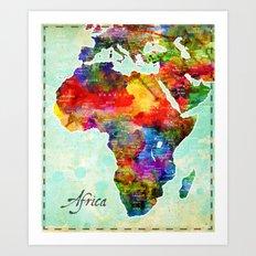 Africa Watercolor Map Art Print