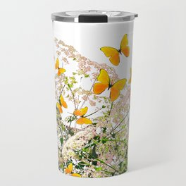 WHITE ART GARDEN ART OF YELLOW BUTTERFLIES Travel Mug