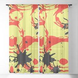 Splah graphic design in yellow Sheer Curtain