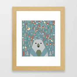 Winter pattern with baby bear Framed Art Print