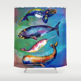 Whale Pyramid #3 - Watercolor Whales Shower Curtain