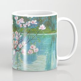 Springtime Pink Magnolias by the Kettle Pond landscape by Wilhelm List Coffee Mug