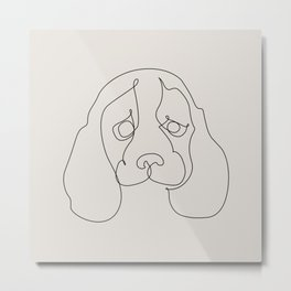 One Line Beagle Metal Print