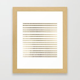 Elegant faux gold white modern minimal polka dots stripes Framed Art Print