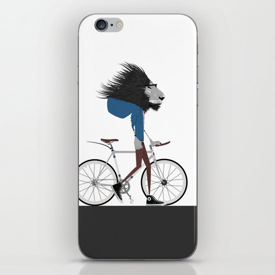 Hipster Lion and his Bicycle iPhone & iPod Skin