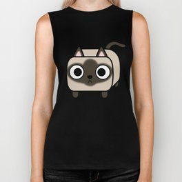 Cat Loaf - Siamese Kitty with Crossed Eyes Biker Tank