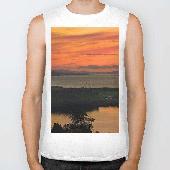 Sunset Over Kerrera Isle Biker Tank