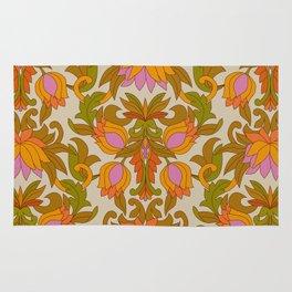 Orange, Pink Flowers and Green Leaves 1960s Retro Vintage Pattern Rug