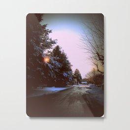 Wintry Road - Icy Metal Print