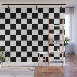 chess board, chessboard  black and white pattern Wall Mural