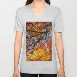 Autumnal colors in forest Unisex V-Neck