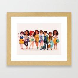 MODERN AU: Princesses Framed Art Print