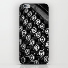 black and white typewriter iPhone Skin
