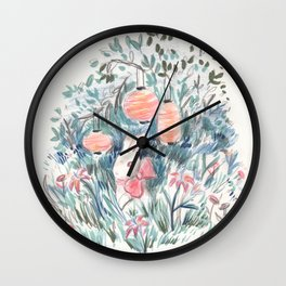 Bunny with Lilies & Lanterns Wall Clock