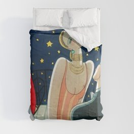 The Woman in Red & Stars, Art Deco - Haute Couture NYC Portrait Painting Comforters