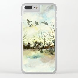 Winter Canada Geese Clear iPhone Case