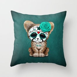 Blue Day of the Dead Sugar Skull Cheetah Cub Throw Pillow