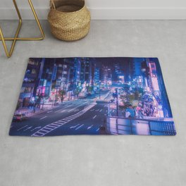 Shibuya night, purple and futuristic vibes Rug