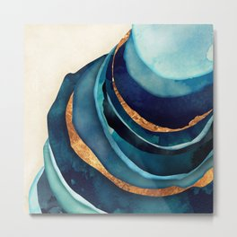 Abstract Blue with Gold Metal Print