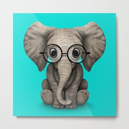 Cute Baby Elephant Calf with Reading Glasses on Blue Metal Print