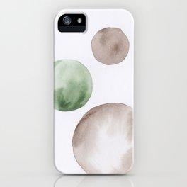 13 |181104 Australian Leaf Green & Brown Earth Orbs | Watercolour Circle Abstract Geometrical iPhone Case