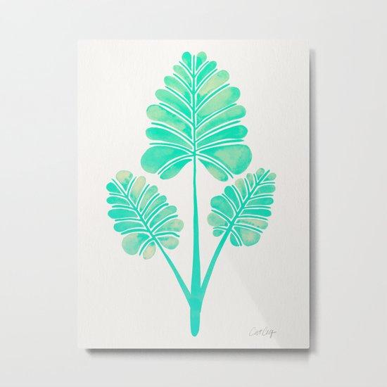 Tropical Palm Leaf Trifecta – Turquoise Palette Metal Print
