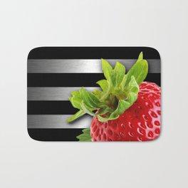 Strawberry Black & Silver Metallic Stripes Bath Mat