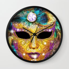 Golden Carnival Mask Wall Clock