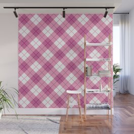 Pink Plaid Wall Mural