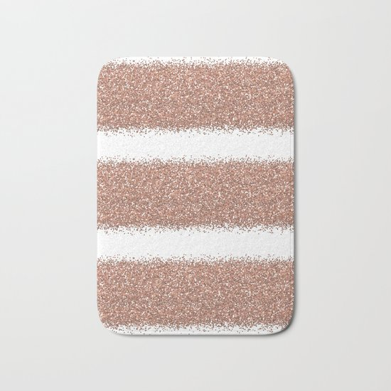Rose gold glitter stripes Bath Mat