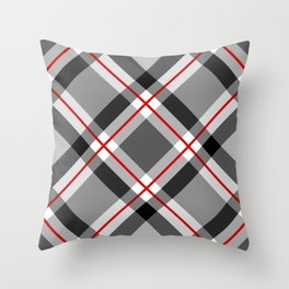 Large Modern Plaid, Black, White, Gray and Red Throw Pillow