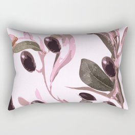 Olive tree branch with pink tones on white background Rectangular Pillow