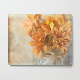 Mason Jar Daisy Bunch Metal Print