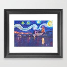 Starry Night in Regensburg  Van Gogh Inspirations on River Danube Framed Art Print
