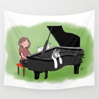piano Wall Tapestries featuring PIANO by Andrea Lacuesta Art