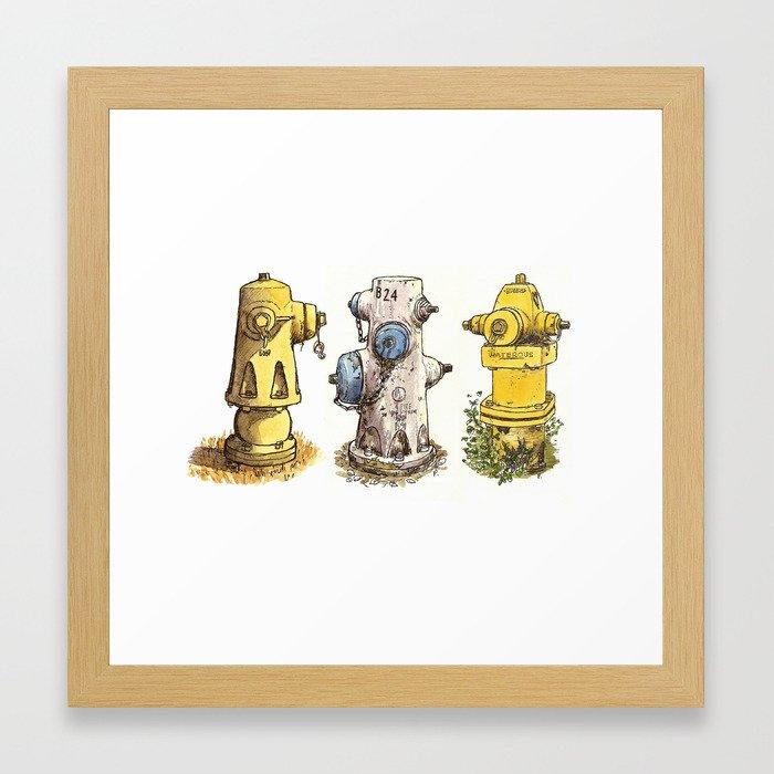 Pete's fire hydrants Framed Art Print
