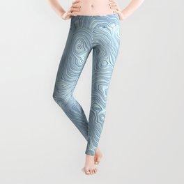 Baby Blue Silk Moire Pattern Leggings