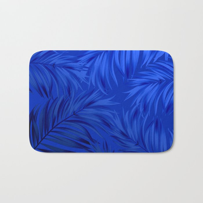 Palm Tree Fronds Brilliant Blue on Blue Hawaii Tropical Décor Bath Mat