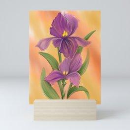 Purple Iris in warm sunshine Mini Art Print