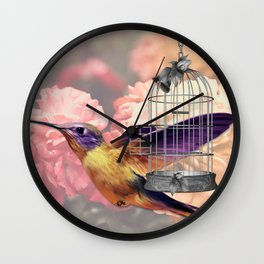Too Wild for a Cage Wall Clock