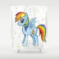 mlp Shower Curtains featuring Rainbow Dash  by Olechka