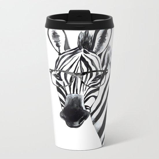 Zebra with glasses, black and white Metal Travel Mug