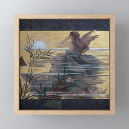 Vintage Art Nouveau Composition with Winged Nymph Framed Mini Art Print