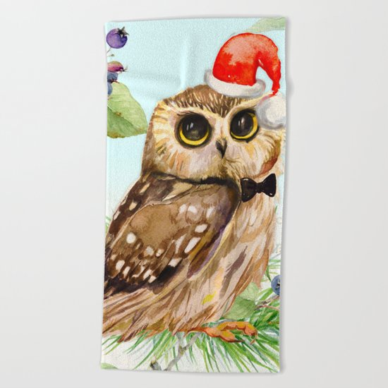 Winter animal #1 Beach Towel