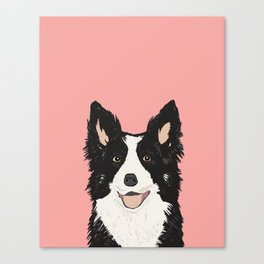Border Collie pet portrait pink background dog lover art gifts Canvas Print